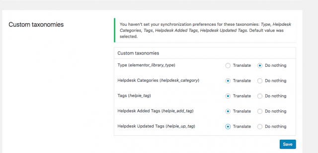 Enable Helpie's taxonomies in WPML