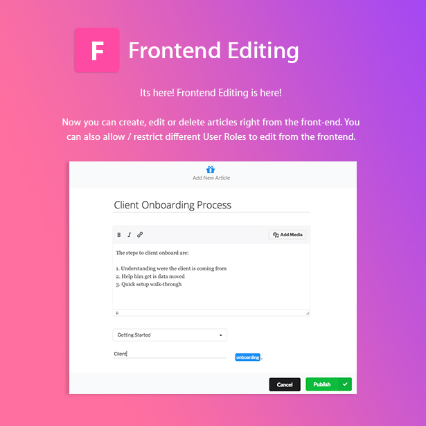 Helpie Frontend Editing