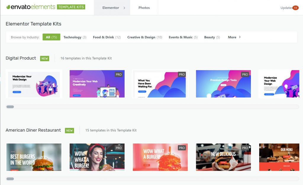 Download Free Elementor templates from Envato Elements