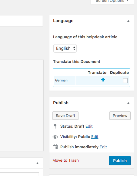 Create new Helpie article translation with WPML