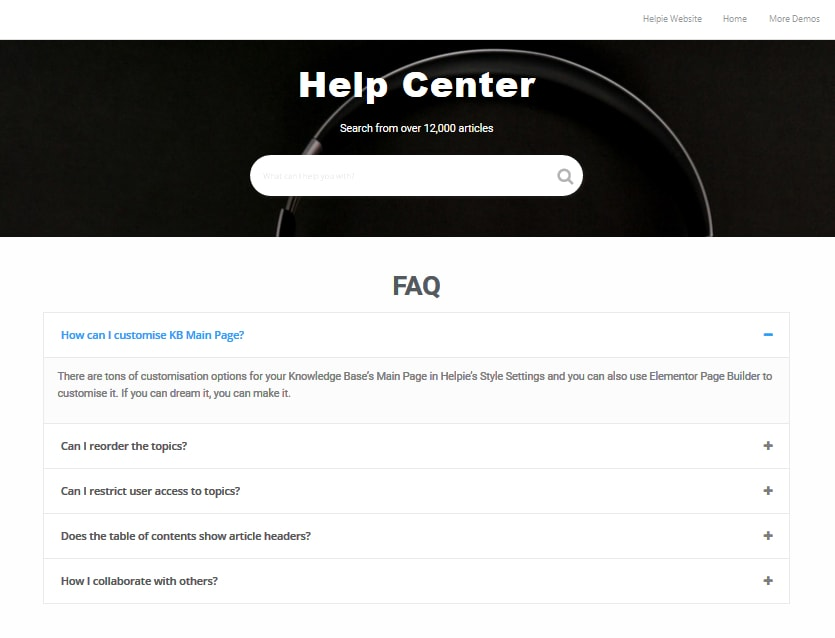 FAQ Template Example with Helpie FAQ