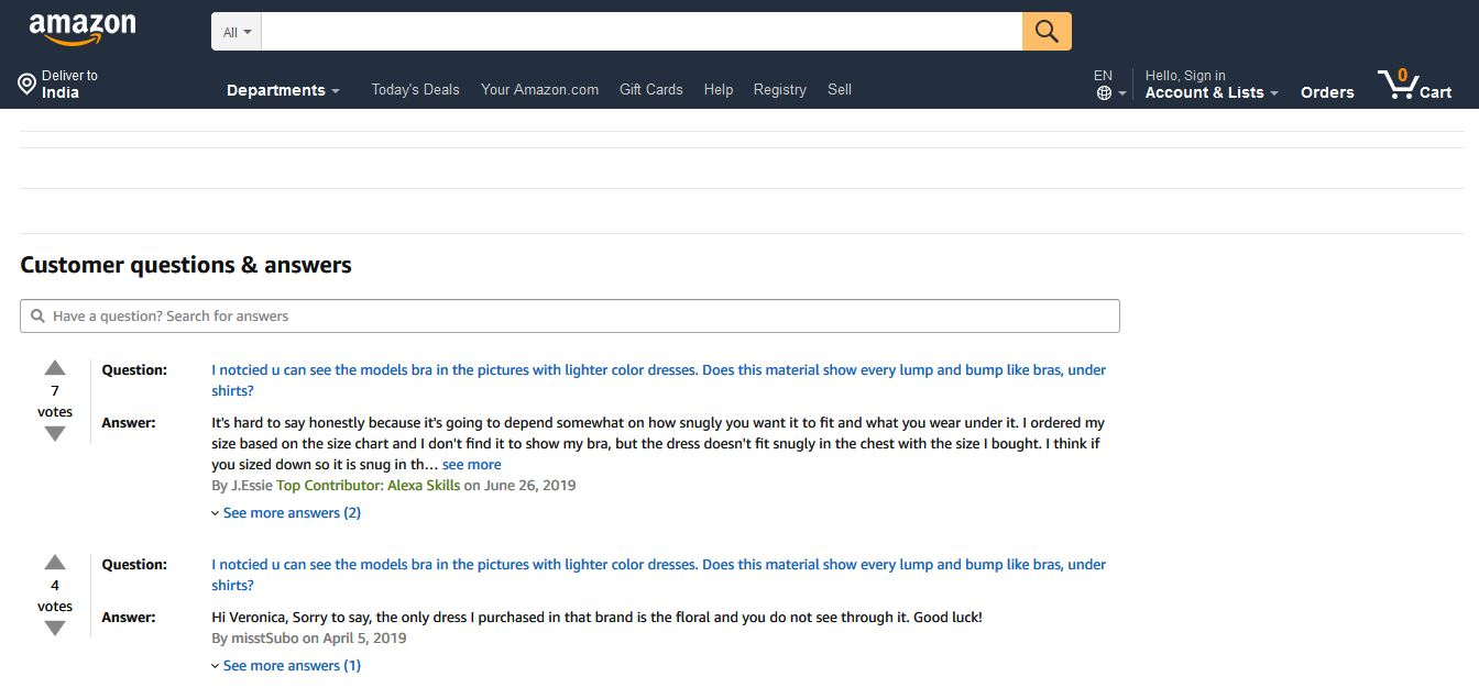 FAQ section on Amazon product pages